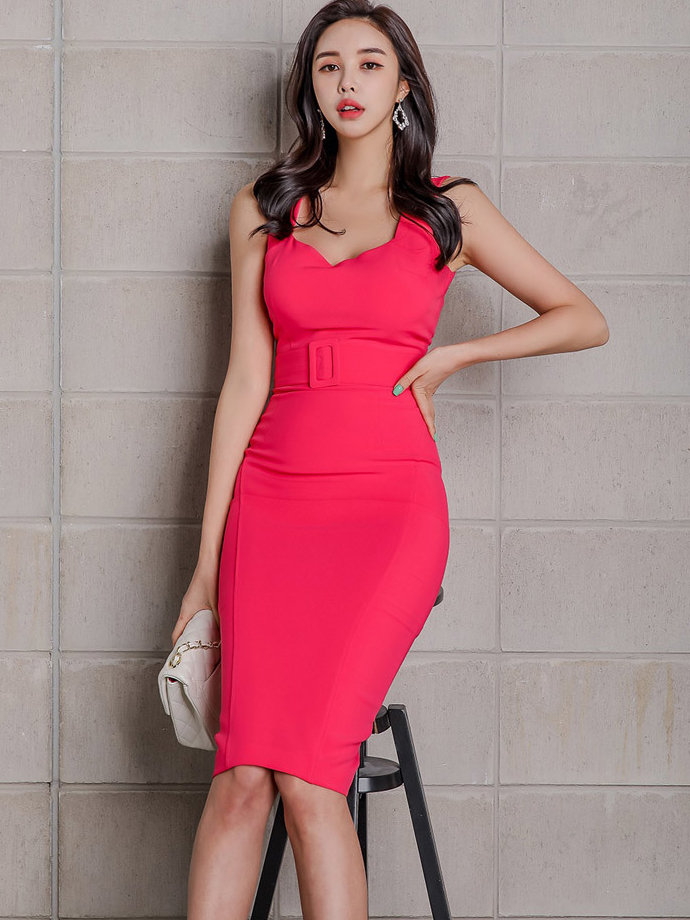 Elegant Solid v Neck Sleeveless Bodycon Dress