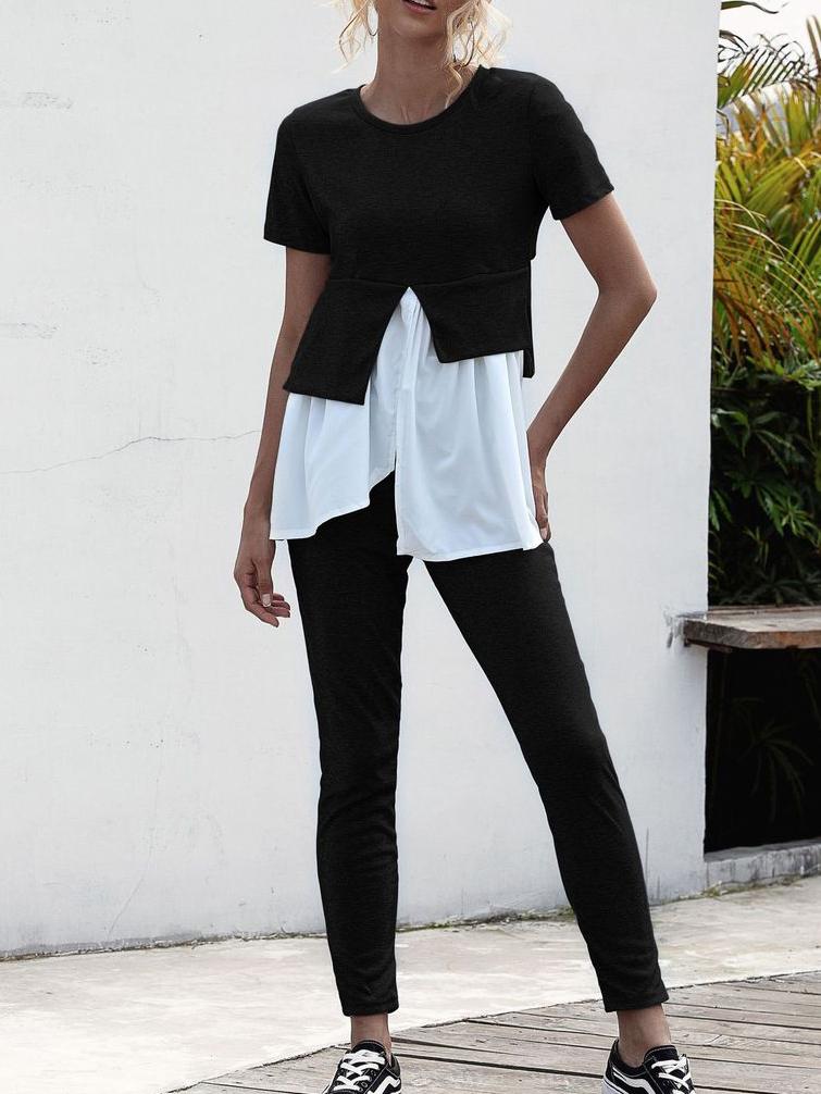 Irregular Patchwork Short Sleeve Two Piece Sets Women