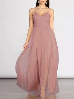 Sweat Gauze Patchwork Slip Maxi Dresses
