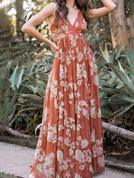 Leisure v Neck Slip Beach Maxi Dress