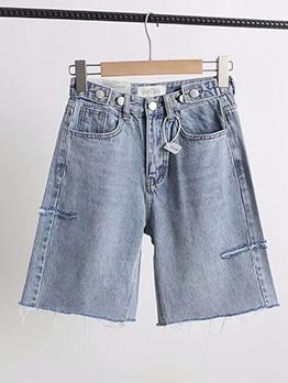 Adjustable Multiple Buttons Knee Length Denim Shorts
