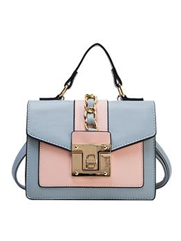 Stitching Color Metal Twist Lock Square Shoulder Bags