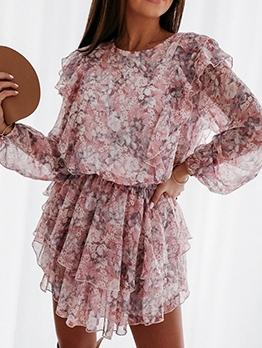 Ditsy Printed Ruffled Long Sleeve Dress Casual