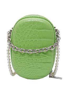 Oval Crocodile Print Beaded Strap Mini Shoulder Bags