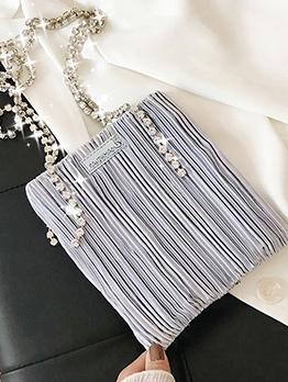 Pleated Satin Shiny Rhinestone Strap Women Shoulder Bags