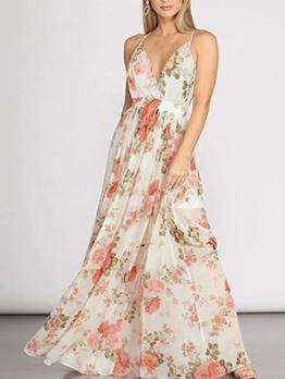 Open Back v Neck Printed Bohemian Maxi Dresses