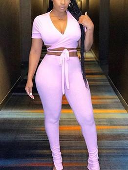 Short Sleeve Zipper Hem Two Piece Pants Set