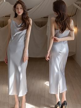 V Neck Backless Gray Satin Sleeveless Maxi Dress