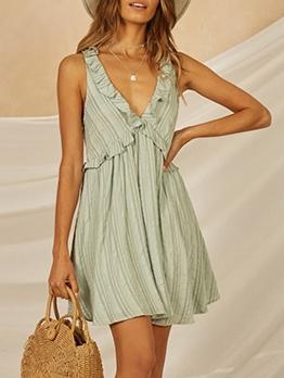 Hot Sale Stringy Selvedge v Neck Sleeveless Dress