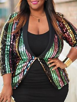 Plus Size Striped Sequin Long Sleeve Blazer For Women