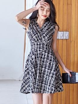 Fashion v Neck Sleeveless a Line Dress