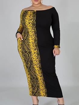 Off Shoulder Snake Print Long Sleeve Plus Size Dress
