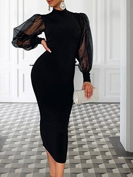 Mock Neck Tulle Sleeve Ladies Maxi Dresses