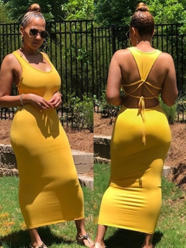 U Neck Sleeveless Solid Backless Bodycon Maxi Dresses