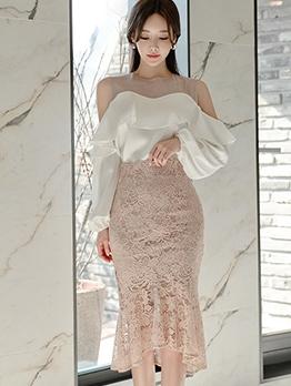 Graceful Patchwork Ruffled 2 Piece Skirt Set
