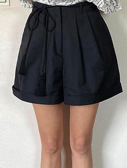 Versatile Solid High Waisted Short Pants