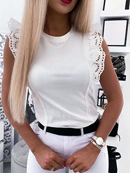 Lace Trim Crew Neck T-shirts For Women