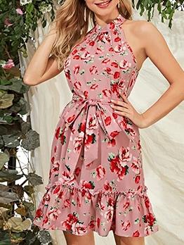 Rose Printed Sleeveless Bowknot Tied Summer Dresses