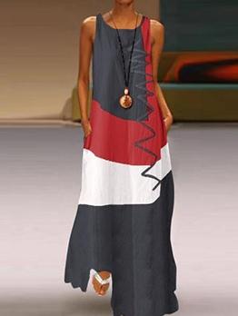 Vintage Color Block Sleeveless Plus Size Maxi Dresses