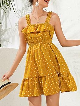 Ruffled Polka Dots Camisole Casual Dresses