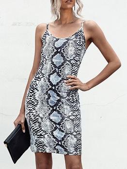 Hot Sale Leopard Print Sleeveless Sheath Dress