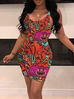 Cartoon Print Sleeveless Bodysuit Two Piece Skirt Set