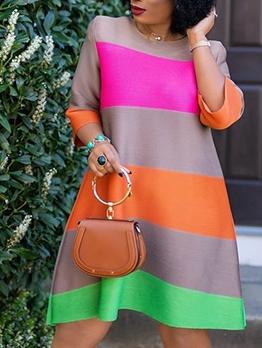 Contrast Color Striped Long Sleeve A-Line Dress