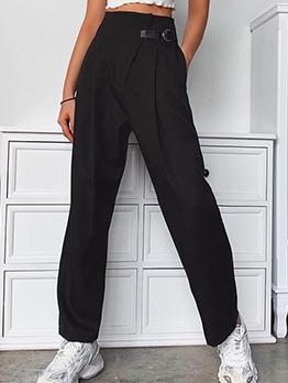 Side Pocket Plain Black Straight Long Pants