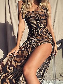 Animal Print Single Strap Side Split Maxi Dresses