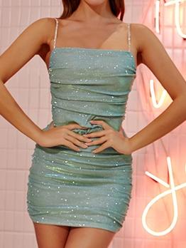 Tiny Rhinestone Straps Pleated Glitter Short Dresses
