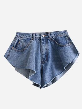 Ruffle Detail Blue High Waist Jean Shorts