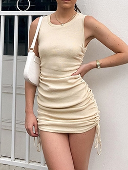 Solid Side Drawstring Short Sleeveless Dress