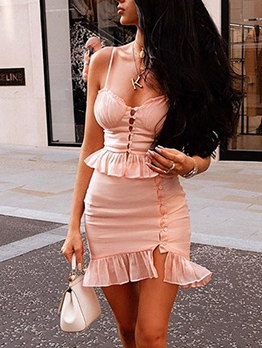 Ruffled Spaghetti Strap Button Up Pink 2 Piece Skirt Set
