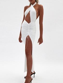 Sexy Backless Split Hem Crossed Halter Maxi Dress