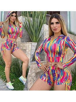 Colorful Tie Dye Side Drawstring Hooded Two Piece Outfits