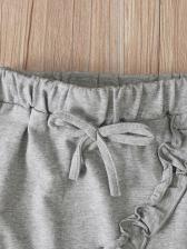 Letter Print Two Piece Skirt Set For Girl