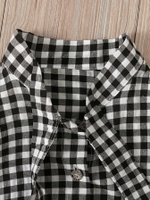 Tie Neck Plaid Top With Pu Black Skirt For Girl