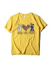 Euro Casual Print Short Sleeve Cheap T-Shirt