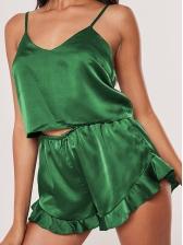 Solid V Neck Spaghetti Strap Short Pajama Set