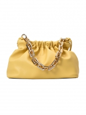 Thick Chain Handle Pleated Pu Thin Strap Crossbody Bags