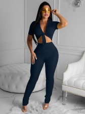 Pure Color Front Bow Crop Top And Stacked Pants Set