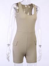 Summer U Neck Sleeveless Solid Color Sport Romper