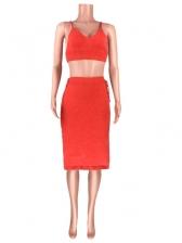 Split Hem Pure Color Backless Crop Top And Skirt Set