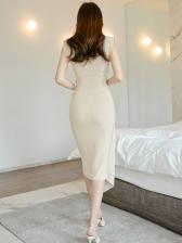 Casual Contrast Color Wrap Midi Dress