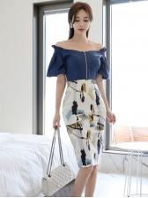 Vintage Shoulder Off Shoulder Two Piece Skirt Sets