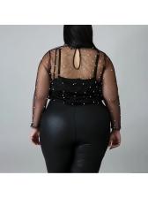 Black Camisoles With Gauze Beading Decor Blouse