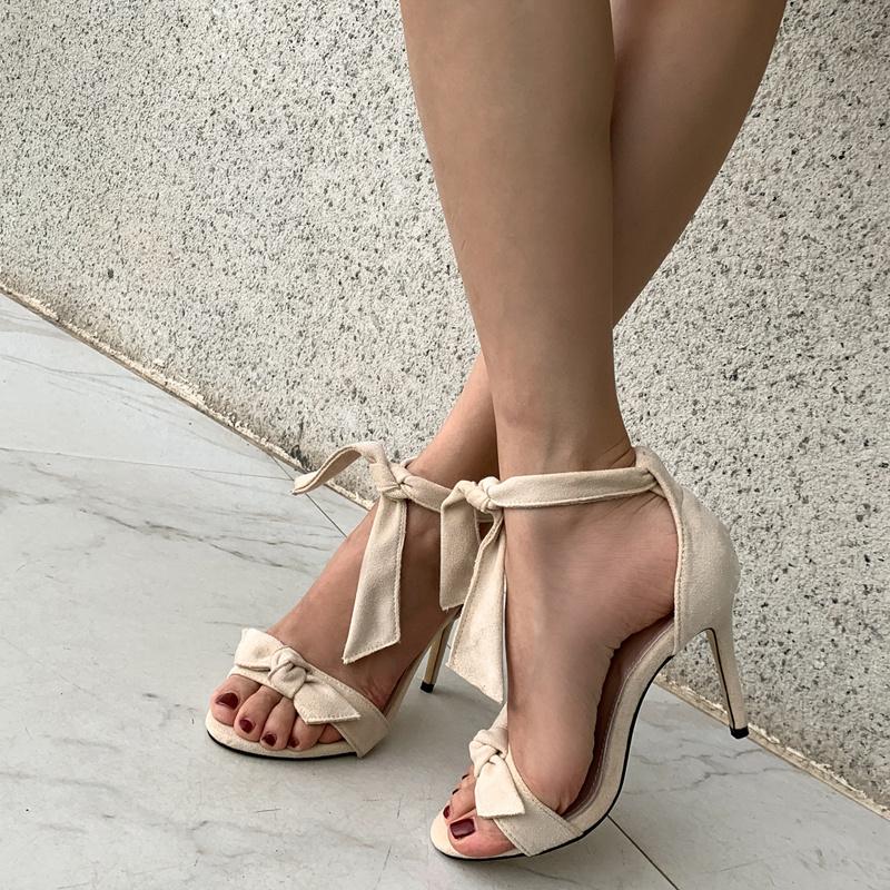 Stylish Bowknot Decor Open Toe Heel Sandal