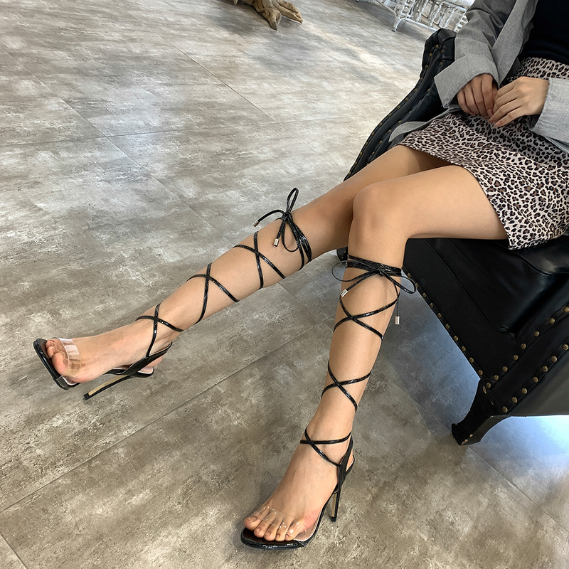 Sexy Clear Upper Women Lace Up Sandals