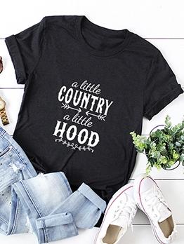 Plus Size Letter Printing Crew Neck T Shirt