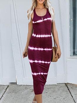 Casual Tie Dye Sleeveless Midi Dress